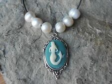 MERMAID CAMEO PENDANT NECKLACE W/ GENUINE FRESHWATER PEARLS, TROPICAL, AQUA