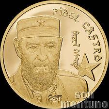 FIDEL CASTRO 24K GOLD COIN - 1/2 Gram 14mm - 2017 Mongolia 1000 Togrog ONLY 5000