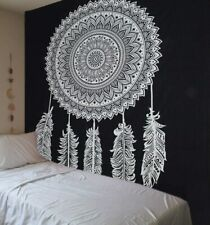 Black And White Dream Catcher Mandala Cotton Wall Hanging hippie tapestry throw