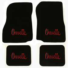 NEW! 1968 - 1972 CHEVELLE Floor Mats Black Carpet Embroidered RED Logo on All 4