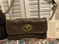 FOSSIL MADDOX Brown Leather Convertible Shoulder Bag Clutch Wallet Small EUC
