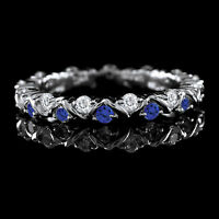 Tanzanite and White Eternity Band Ring in Sterling Silver