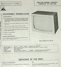 Service Manual 1960 Photofact Schematic: TRAV-LER 23K6075 23MT6059 Ch 1051-60 TV
