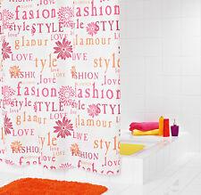 RIDDER Duschvorhang Textil 180 x 200 cm Glamour rose, inkl. Ringe