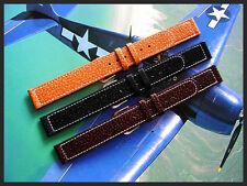 20mm XL Black Tan Gen Pigskin Vintage 1940s watch band strap IW SUISSE 16 18 XL