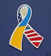 Ukrainian Car Truck Bumper Fridge Magnet Sticker Ribbon Ukraine-USA Flag Tryzub