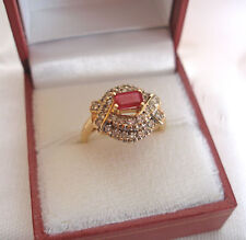 .85 Ct.  Ruby Solitaire & Diamond  14K Gold Ring