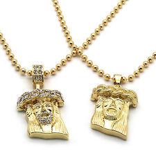 Men Gold Plated Jesus Piece Combo Set Iced Out Cz & Plain Pendant Chain Necklace