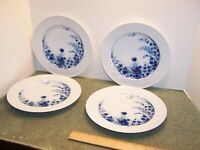 "4 Kaiser Echt Kobalt 10"" Dinner Plates DEK 4003 West Germany Blue Flowers"