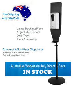 FREE STANDING TOUCH FREE AUTOMATIC GEL DISPENSER ON ADJUSTABLE STAND