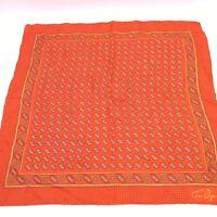 "Anne Fogarty Red Silk? Patterned Scarf Handkerchief 23""x 23"""