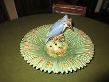 Signed Weller Pottery Kingfisher Flower Frog & Cattail Bowl/Vase
