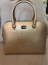 NWT MICHAEL KORS SAFFIANO LEATHER CINDY LARGE DOME SATCHEL BAG IN PALE GOLD