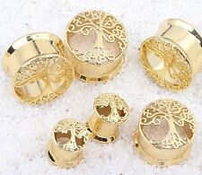 Ear Plug Saddle Stretcher Wicca New Age Tree Of Life Gold Earring Tunnel Flared