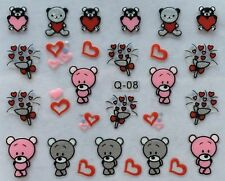 Nail Art 3D Decal Stickers Valentine's Day Bears Roses Boquet Hearts Q08