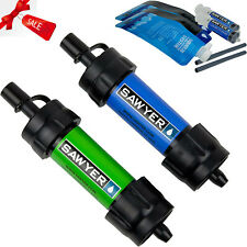 Sawyer Mini Water Filter Filtration System 2 Pack Drinking Straw Blue + Green