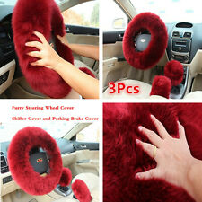 3Pcs Fur Car Steering Wheel Cover Red Wine Color Wool Furry Fluffy Thick Winter