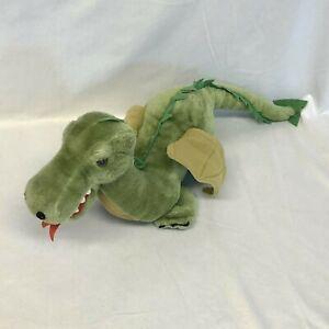 "Vintage Dakin Green Plush Winged Dragon Stuffed Toy Animal Fire Breathing 24"""