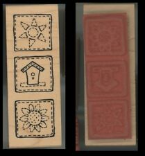 Rubber Stamp Block - Great Impressions G462 Squares, Sun, Bird House, Flower C-4