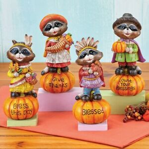 """Set of 4 Raccoon Pilgrims and Indians """"Blessings"""" Thanksgiving Sitter Figurines"""
