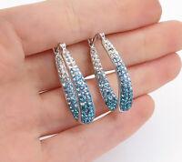 SWAROVSKI 925 Silver - Sparkling Blue Gradient Crystal Hoop Earrings - E9054