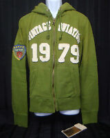 TOP GUN - Men's Zip-Up Military Patched Hoodie Jacket - Green - Size L
