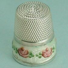 Vintage Enameled Roses Band Sterling Silver Thimble by Simons Bros. * Circa 1920