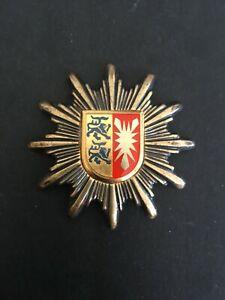 WEST GERMANY, BDR. SCHLESWIG HOLSTEIN POLICE UNIFORM BADGE -:- NICE ORIGINAL.