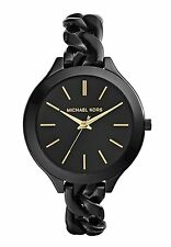 Michael Kors Slim Runway Black With Gold-Tone Stick Markers Women's Watch-MK3317