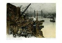 River Thames in London XL 1932 art print by Luigi Kasimir Great Britain England