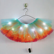 Adult Womens LED Light Up Neon Rainbow Tutu Skirt Costume Party Fancy Dress