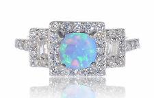 Princess Fashion Light Blue Fire Opal CZ Sterling Silver Ring