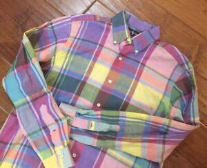 Ralph Lauren Mens Pink Yellow Purple Multicolor Plaid Madras L/S Shirt Medium M