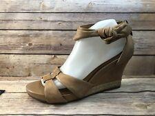 INDIGO BY CLARKS 10M Tan Light Brown Back Zip Wedge Heels Espadrille Sandals