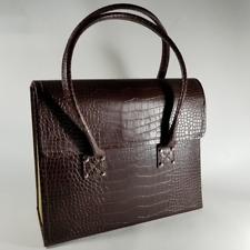 Burgundy Crocodile Embossed Document Handbag w/ Folder Compartments