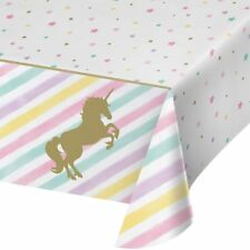 "UNICORN SPARKLE TABLE COVER 54""x 102"" GOLD GIRLS BIRTHDAY PARTY TABLEWARE NEW"
