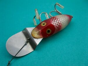 VINTAGE HEDDON GO-DEEPER RIVER RUNT - RED HEAD & TAIL/SILVER SCALE