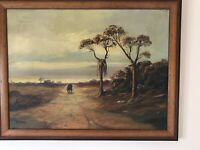 Original Oil Painting By Listed Artist George Deaca Western Scene/Stage Coach