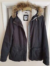 Ladies ROXY Size 12 Hooded Cosy Warm Fleece Lined Fur Trim Jacket Coat