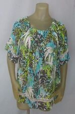 Westbound Petite WOMEN'S Rayon TOP Short Sleeve Tropic Floral Multi PXL NWT