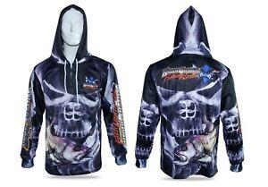 Smokey Skull Jewfish Hooded Fishing Shirt Mens XS Up To 6XL + Kids 6,8,10,12
