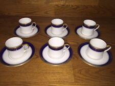 Belgium ~ La Porcelaine de Baudour~Kobalt/Gold Demitasse Cups & Saucers (6 Sets)