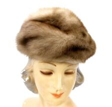 VTG Blonde Ranch Mink Womens Hat Pillbox Style Pollacks Fur 1960s Gorgeous