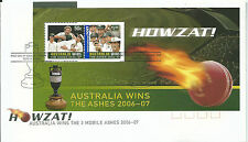 2007 FDC Aust Wins the Ashes Mini Sheet on FD1 16 Jan Perth WA  Special Postmark