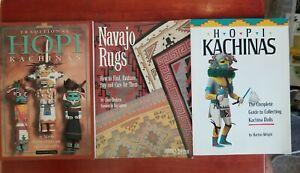 3  SOUTHWEST INDIAN BOOKS KACHINA DOLLS, Navajo RUGS