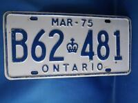ONTARIO LICENSE PLATE 1975 B 62481 CLASSIC VINTAGE CANADA CAR SHOP GARAGE SIGN