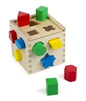 Melissa & Doug Shape Sorting Cube-Classic Wooden Toy With 12 Shapes Toy For Kids