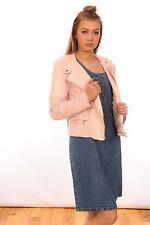 designer pale pink faux suede & leather Biker jacket by Cache & Cache