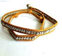 """Wrap Bracelet Tan Silver 21""""  F249"""