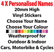 4 x Personalised Name Stickers for CAR WINDOW BONNET BOOT WINGS FUNNY JDM 20MM